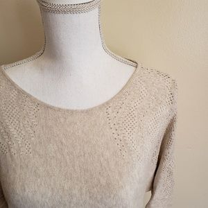 Oh Baby Oatmeal 3/4 Sleeve Lightweight Sweater